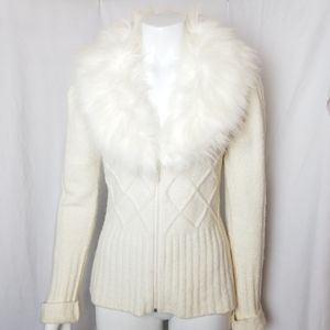 Le Chateau white faux fur collared zip up sweater